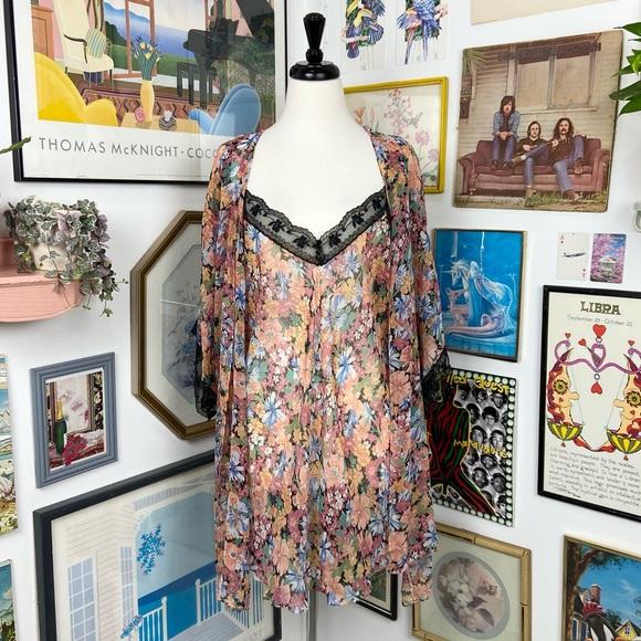 Vintage 2 Piece Robe & Slip Dress Set